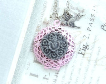 Pink Victorian Locket Necklace Round Filigree Locket Neckace Pink and Grey Necklace Locket Jewelry