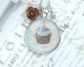 Chocolate Cupcake Necklace Fake Food Necklace Cupcake Pendant Necklace Paris Necklace Cupcake Gift
