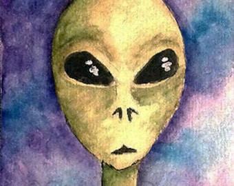 Original Art Grey Alien ACEO Painting