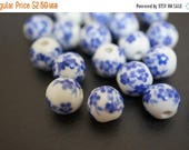 APRIL BLOWOUT SALE Japanese White Round Porcelain Beads with Classic Blue Sakura Flowers Beads - 8mm - 6 pcs