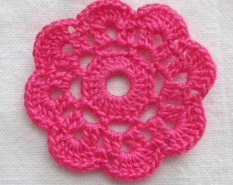 10 Hot Pink Crochet Appliques, Mini Doilies, Embellishments, Handcrafted