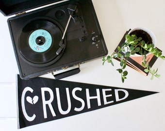 CRUSHED - Banner for the Broken Hearted - anti valentine's day - valentine's decoration - vintage wall pennant -  wool Pennant - heartbreak