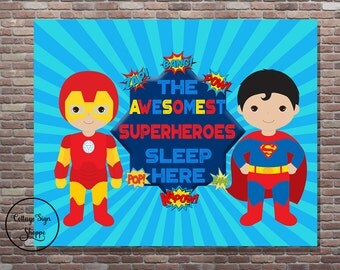 The Awesomest Superheroes Sleep Here, Brothers Superhero Bedroom, Instant DOWNLOAD, YOU PRINT,Brothers Bedroom Decor, Brothers Bedroom Art