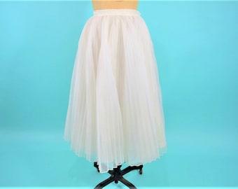 "1950s party skirt | white pleated full party high waist skirt | vintage 50s skirt | W 24"" XS"