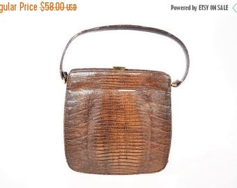 50% OFF SALE // 1960s leather purse | Palizzio brown leather lizard skin handbag | vintage 60s purse