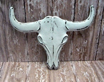 Longhorn Cast Iron Cow Skull White Shabby Chic Rustic Boho Southwestern Wall Home Decor