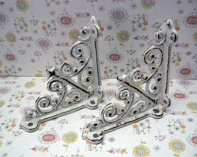 "Shelf Bracket 4"" Mini Cast Iron FDL Ornate Small Shabby Chic White Brace DIY Home Improvement"