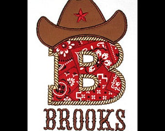 Custom Personalized Applique COWBOY HAT INITIAL and Name Bodysuit or Shirt - Red Bandana, Brown, and Tan