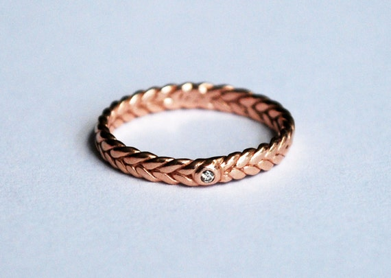 3mm width gold braid ring with champagne diamond