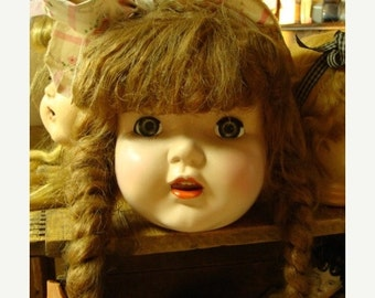 ON SALE Antique Huge and Gorgeous  Composition Antique Doll head