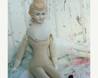 ON SALE Vintage Antique Large Victorian Hand Painted Heirloom Doll