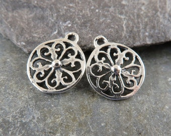 Sterling Silver Filigree Disk Charms - Earring Drops - Sterling Filigree charms - One Pair - cfd