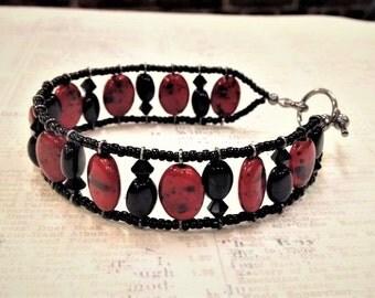 Red and Black Mottled Czech Glass Bracelet, Steampunk Bracelet, Paris, Valentines Day, Red Cuff , Black Swarovski Crystal Bracelet, Red