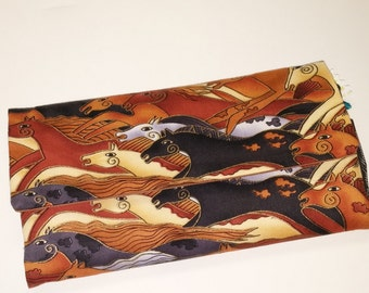 Wild Horses in Brown Wallet / Wristlet / Clutch / Cell phone / Check Book / Money / Credit Card / Coin / Laurel Burch Fabric