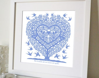 Personalised Love Birds Wedding, Engagement and Anniversary Print
