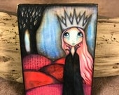 The Lonely Queen - Aceo print mounted on Wood (2.5 x 3.5)  by Elise Hartmann