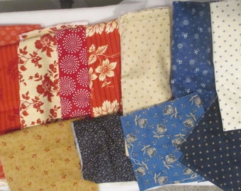 Red, Cream, Tan, and Blue Destash Fabric - Moda