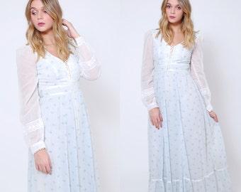 Vintage 70s GUNNE SAX Dress Blue Floral Prairie Dress Hippie Maxi Dress Boho WEDDING Dress Hippie Wedding Dress