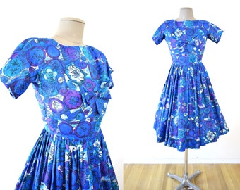 Vintage XS 1950s Betty Barclay Abstract Print Floral Dress 24 inch waist XXS 50s 60s extra small blue purple