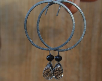 Tourmalinated Quartz and Black Spinel Earrings on Oxidized Silver