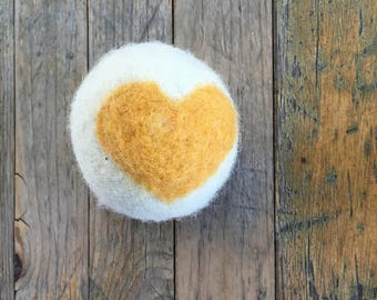 Golden Yellow Heart, Felted Wool Toy Ball or Sculpture , Mini