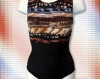 Gymnastics Leotard Girls Child Size 6-16 Black brown beige animal design, NEW Youth gym tank leo.