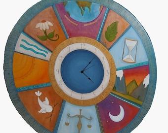 "DECORATIVE WALL CLOCK - Clock -  24"" Round - Wall clock - wood clock - Kitchen Clock - Office clock/ Custom Made"