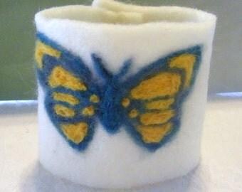 Needle Felted   Cuff  bracelet butterfly
