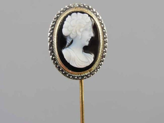 Antique Art Deco 14k yellow gold and white gold sardonyx hardstone cameo stick pin / stickpin / lapel pin / tie pin / tie tack / brooch