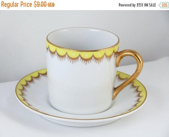SPRING CLEANING SALE Vintage Fitz and Floyd white lemon yellow hand painted demitasse cup and saucer / porcelain / china / bone china / tea