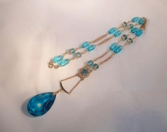Hand Made  Gold tone and Blue Glass  Necklace.