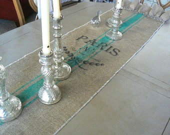 French Grain Sack  Burlap Table Runner  with Ruffles