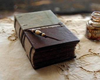 Field Notes – Leather & Vintage Cotton Notebook, Aged Paper, OOAK