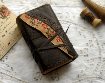Ephemeral Days - Rustic Leather Notebook, Dark Brown, Tea Stained Pages, Mixed Ephemera, OOAK