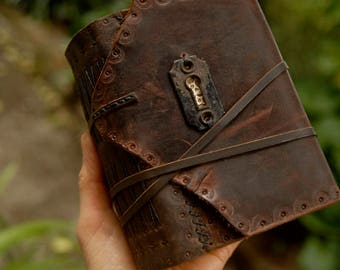 Through The Keyhole - Rustic Leather Journal, Over 380 Tea Stained Pages, OOAK