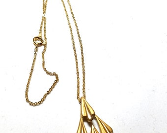 Crown Trifari Vintage Pendant Abstract on Gold Tone Chain