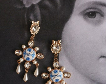 Chandelier Earrings Portugal Antique Azulejo Tile Replica Earrings, Delft Blue Pombaline Ovar  Waterproof and Reversible (see actual Facade