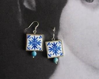 Silver Earrings Portugal Tile Azulejo Portuguese Antique Porto Blue - Framed - Gift Box - Reversible SHIPS from USA 1639