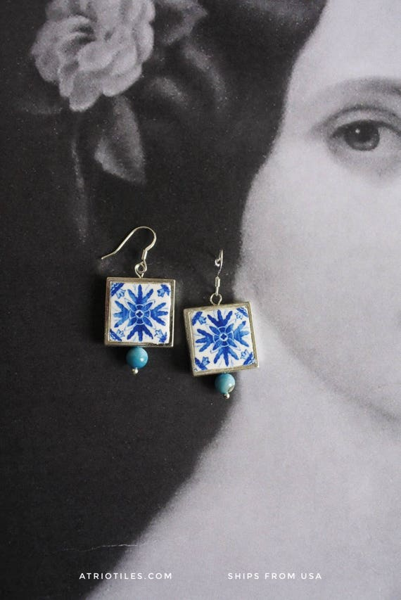 Silver Earrings Portugal Tile Azulejo Portuguese Antique Porto Blue - Framed - Gift Box - Reversible SHIPS from USA 1639