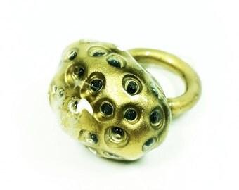 Golden Moon Rock Ring