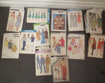 Vintage Sewing Patterns Lot of 13 Mixed Sizes MENS/WOMEN 1970s #8