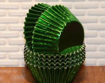 NEW - Mini Green Foil Cupcake Liners (Qty 50) Mini Green Foil Baking Cup, Mini Green Cupcake Liner, Mini Green Baking Cup, Cupcake Liner