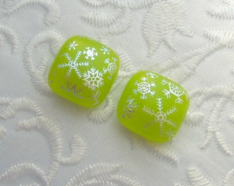 Snowflake Earrings , Post Earrings,  Stud Earrings, Small Post, Dichroic Fused Glass Earrings, Christmas Earrings, Christmas Jewelry X1128