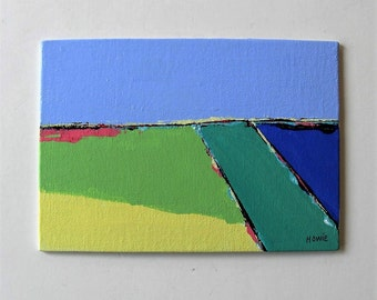 """Original Abstract acrylic landscape painting, canvas panel art, 5"""" x 7"""", turquoise, green, yellow, small art canvas, gift idea"""