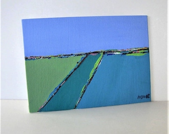 Original acrylic seascape painting, turquoise and blue, landscape canvas panel, 7 x 5, Contemporary Fine art, Abstract Wall Decor, gift idea
