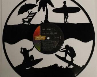 Beach Surfin vinyl art