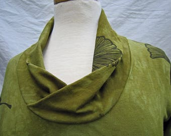 Organic Olive Cowl Neck Top