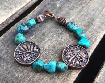 Turquoise Nugget and Copper Indian Head Coin Bracelet