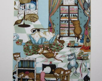 "RARE FABRIC ART Designs Mounted For Framing - Robert Kaufman Sewing Room Cats - 8""x10"" Matted Image  - Final Size with Board 11""x14"""