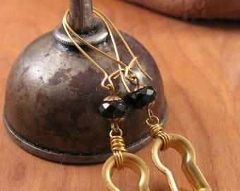 Vintage Keyhole Escutcheon Black Onyx Beaded Brass Kidney Wire Earrings - Repurposed Cabinet Hardware - Steampunk Inspired